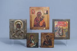 A varied collection of Russian icons, 19th/20th C.