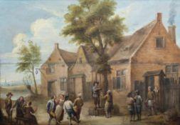 Flemish school, follower of David Teniers II (1610-1690): Peasant making merry, 18th C.