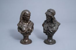 Johannes Boese (1856-1917, after): A pair of busts of a Moorish man and woman, copper alloy, dated 1