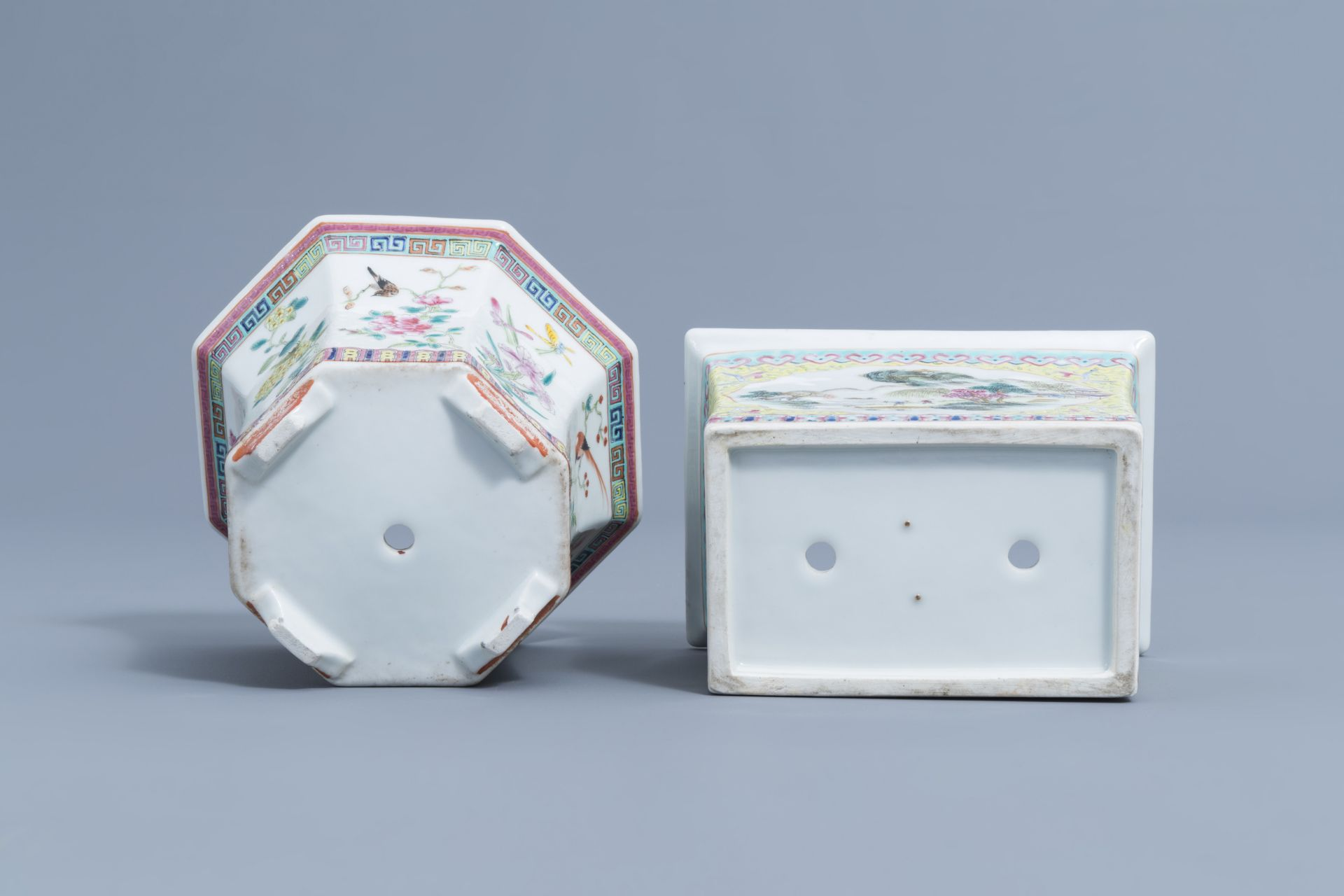 Two Chinese famille rose jardinires and a bowl with floral design, 20th C. - Image 7 of 15