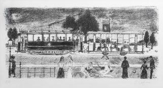Paul Delvaux (1897-1944): 'Le tramway', lithography, ed. E.A., dated (19)71