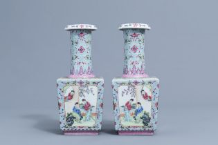 A pair of square Chinese famille rose bottle vases with ladies, Qianlong mark, 20th C.