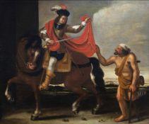 Flemish school: Saint Marten dividing his cloak, oil on canvas, 17th C.