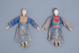 Two Chinese wooden opera or theater dolls, 19th C.
