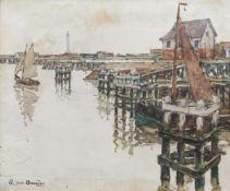Alphonse Van Beurden (II, 1878-1961): Sailboats in Nieuwpoort, oil on canvas