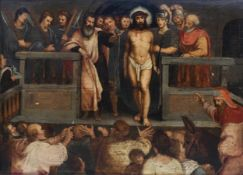 European school: The mocking of Christ, oil on panel, 17th C.