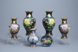 Five Chinese cloisonne vases and a saucer dish, 20th C.