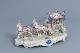A group with a four-in-hand carriage in polychrome Saxon porcelain, Sitzendorf mark, 20th C.