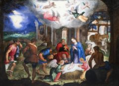 Venetian school: The adoration of the shepherds, oil on canvas, late 16th C.
