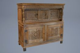 An English or Flemish wooden four-door court cupboard with geometric pattern, 17th/18th C.