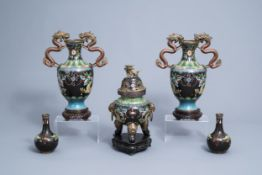 A Chinese cloisonne incense burner and two pairs of vases with dragon design, 20th C.