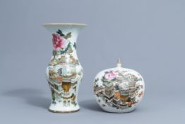 A Chinese qianjiang cai yenyen vase and a jar and cover with antiquites design, 19th/20th C.