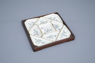 A Chinese famille rose sweetmeat or rice table set with ladies in a flower landscape, 19th/20th C.