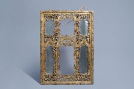 A Chinese open worked gilt wooden mirror, 19th C.