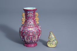 A Chinese famille rose sgraffito vase with floral design and a small gourd plaque, 19th/20th C.