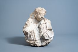 A carved stone figure of a gentleman, Brabant region, Southern Netherlands 16th/17th C.