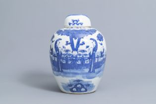 A Chinese blue and white jar and cover with figures on a terrace, Kangxi mark, 19th C.
