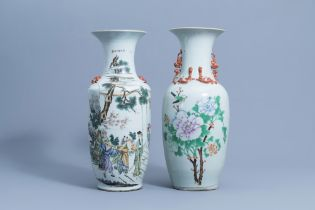 Two Chinese famille rose vases with figurative design & a bird among blossoms, 19th/20th C.