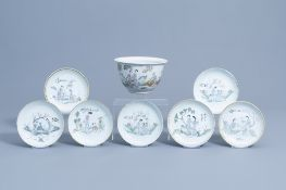 Seven Chinese qianjiang cai saucer plates and a jardiniere with figures in a flower garden, 19th/20t