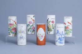 Seven various Chinese blue, white, famille rose and qianjiang cai hat stands, 19th/20th C.