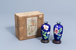 A pair of Japanese cloisonne vases with floral design, marked Hattori, Meiji, ca. 1900