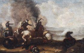 Italian school: The battlefield, oil on canvas, 17th C.