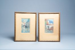 Alexander Robinson (19th/20th C.): 'Amalfi' and 'Venice', mixed media, dated 1905