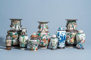 A varied collection of Chinese Nanking famille rose & blue & white porcelain, 19th/20th C.