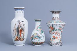 Three various Chinese famille verte and polychrome vases, 20th C.