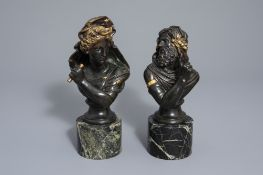 In the manner of Frederic Eugene Piat (1827-1903): A pair of busts after the antiques, patinated and