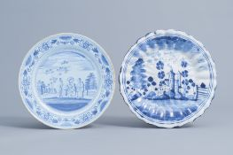 Two German blue and white plates with a landscape and a biblical scene, Ansbach and Nuremberg, 18th