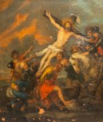 Flemish school, after Jacob Andries Beschey (1710-1786): The raising of the cross, oil on canvas mar