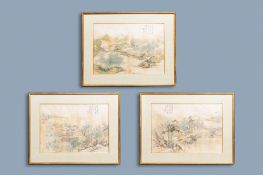 Chinese school, ink and colour on silk, 20th C.: Three landscape views