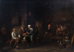 Victor Mahu (1647-1700): Peasants making merry at an inn, oil on canvas