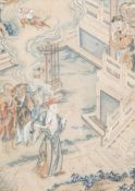 Chinese school, ink and colours on paper, 19th C.: Mythological scene
