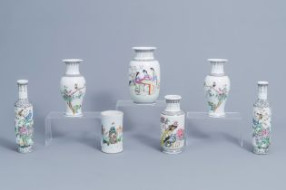 Six various Chinese famille rose vases and a famille verte 'scholars' brush pot, 20th C.