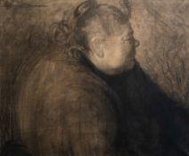 Cecile Cauterman (1882-1957): A folk figure, charcoal on paper