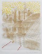 Roger Raveel (1921-2013): 'De spanning van de rust in het dorp', etching in colours, ed. 5/30, (1975