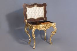 A lavish gilt Louis XV style coiffeuse with rosewood veneer inside, 19th C.