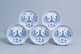 Five lobed blue and white Dutch Delft 'pagoda garden' plates, 18th C.