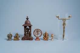 A varied collection of Indian bronze and brass figures, 19th/20th C.