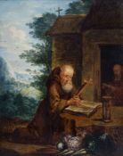 Flemish school: Two hermits meditating in the wilderness, oil on panel, 17th C.