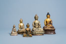 Five bronze figures of Buddha, China and Southeast Asia, 19th/20th C.
