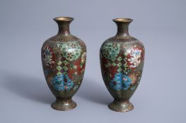 A pair of fine Japanese cloisonne vases with floral design, Meiji, 19th/20th C.