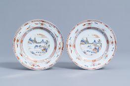 A pair of Chinese verte-Imari 'landscape' plates, Kangxi