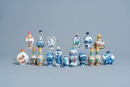A collection of Chinese blue, white, famille rose & iron red snuff bottles and miniature vases, 20th