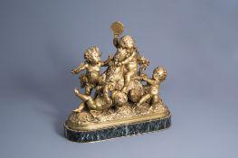 Albert-Ernest Carrier-Belleuse (1824-1887): Four putti making merry, gilt bronze on a vert de mer ma