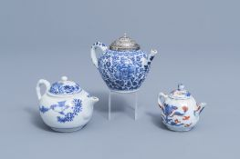 Two Chinese blue and white teapots and an Imari style teapot with floral design, Kangxi en later