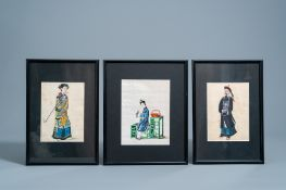 Chinese school, ink and colours on pith paper, 19th C.: Three works with a figure