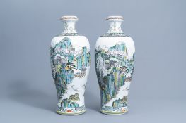 A pair of Chinese famille verte meiping vases with an animated landscape all around, 20th C.